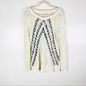 Anthropologie Knitted & Knotted Ribbon Crewneck